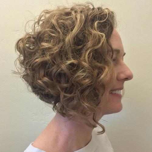 17 curly angled bob
