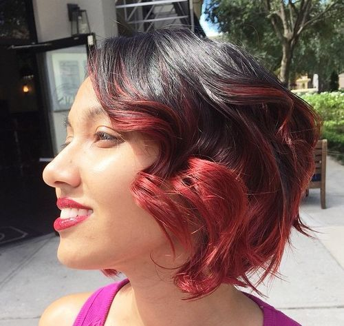 18 black wavy bob with marsala balayage