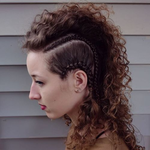 18 curly mohawk with side braids