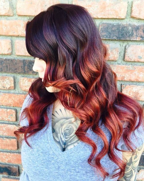 19 black hair with burgundy and caramel balayage
