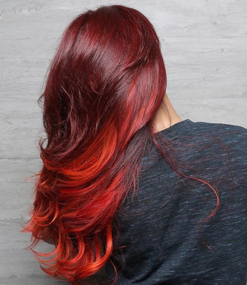 2 burgundy hair with red balayage