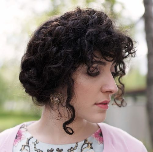2 loose curly updo