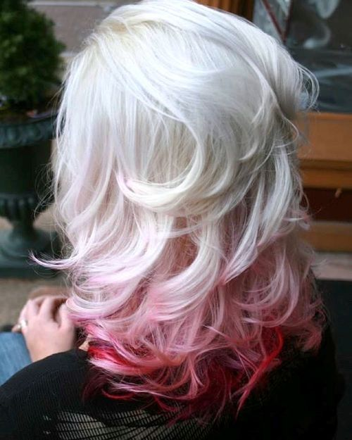 20 platinum blonde and red reverse ombre
