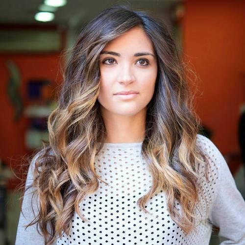 22 long dark brown hair with caramel balayage