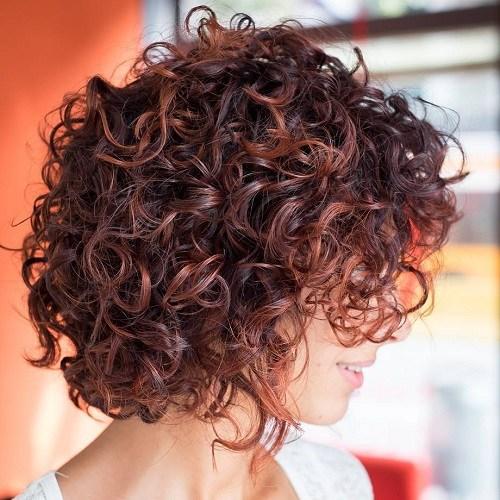 23 curly mahogany bob