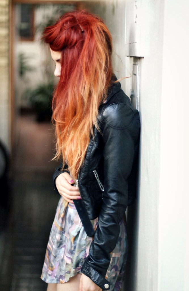 24 red hair with ombre