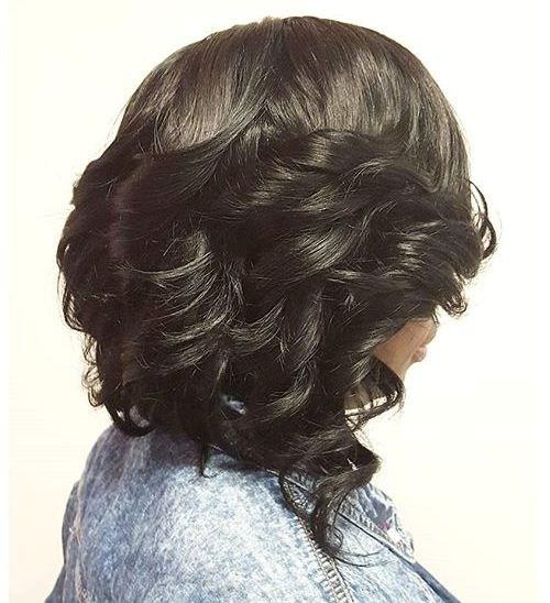 28 black angled curled bob
