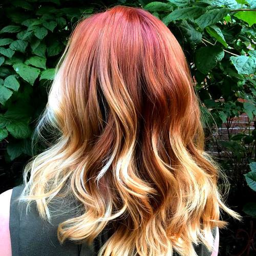 3 red hair with blonde ombre highlights