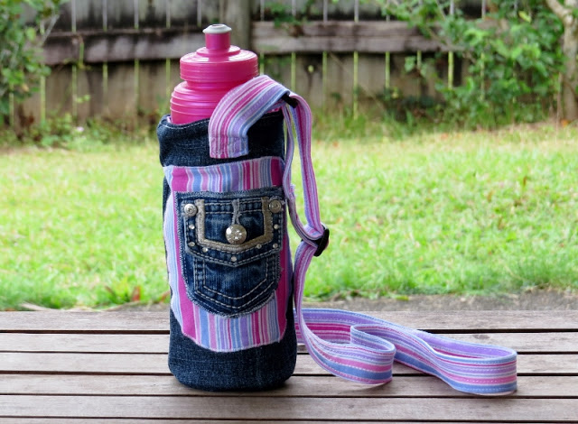 32 Create a funky water bottle carrier using jeans