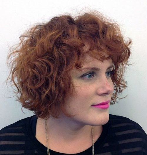 32 red curly bob with bangs