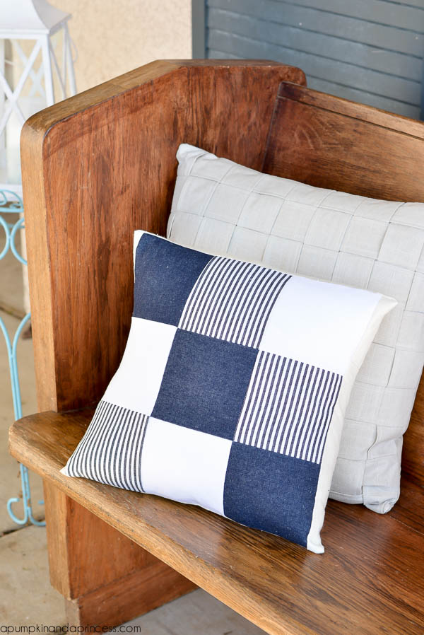 35 Repurpose old jeans into a quilted denim pillow cover