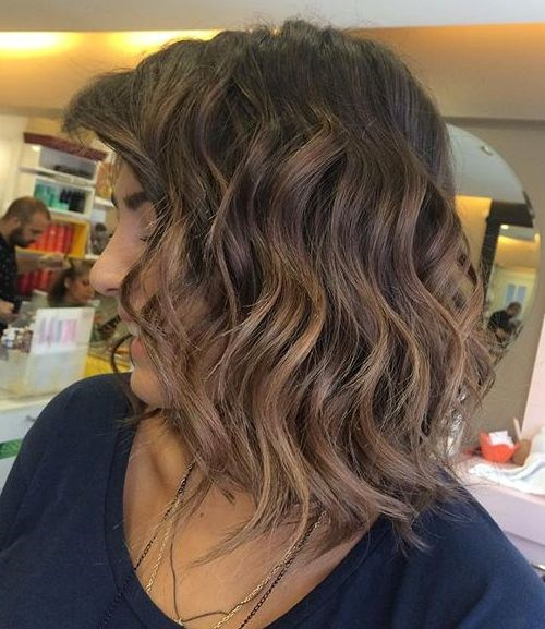 35 long wavy brunette bob with subtle ombre