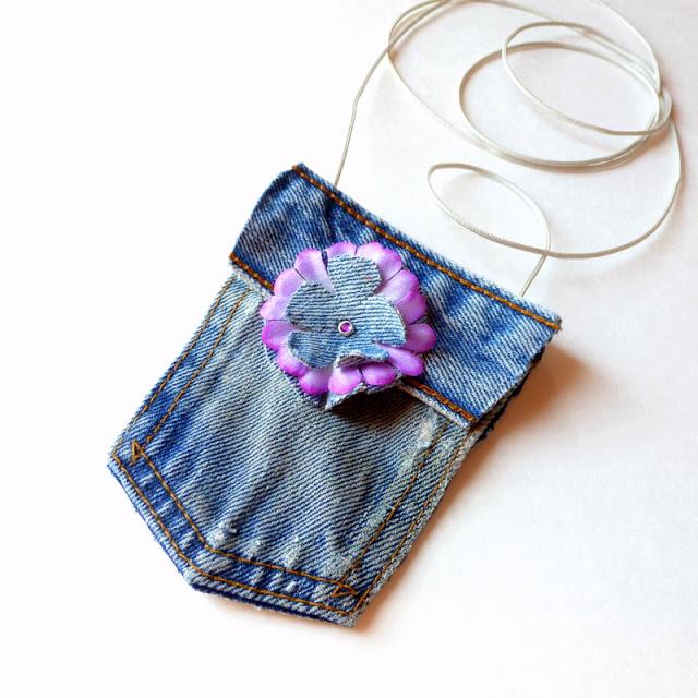 38 No-Sew mini blue jean purse