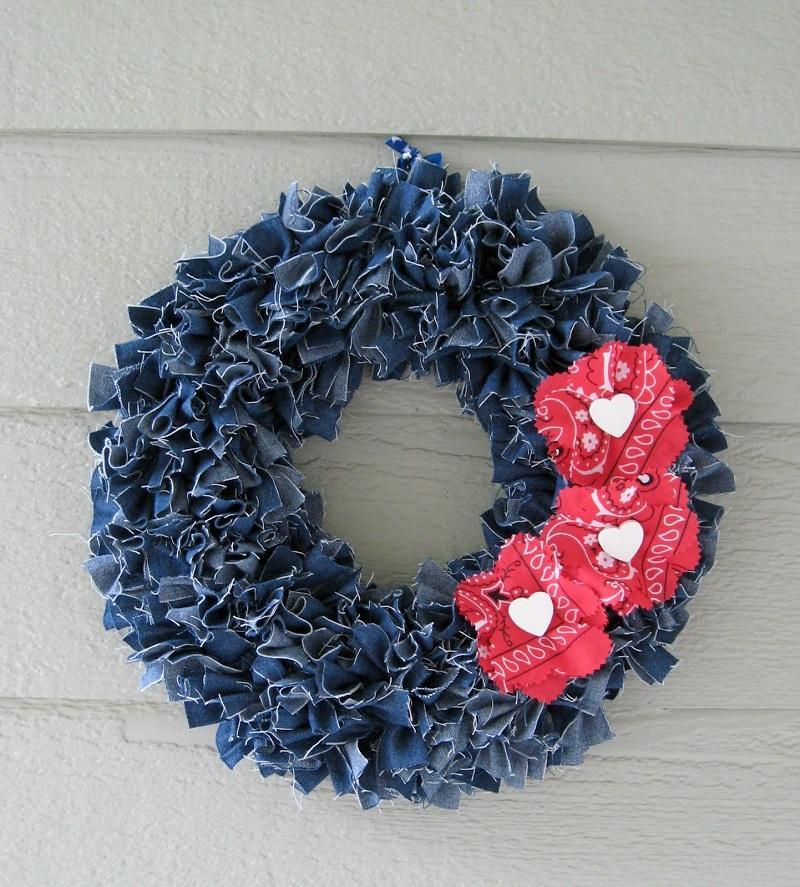 39 Make a denim wreath
