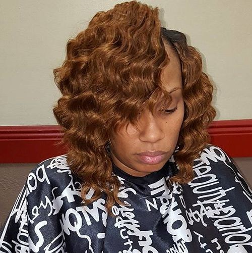39 wavy light brown bob for African American women