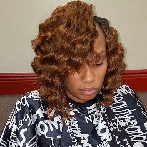 39 wavy light brown bob for African American women