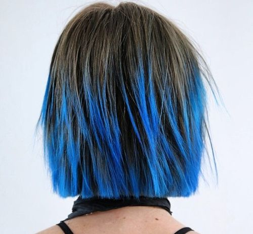 4 short choppy haircut with blue balayage