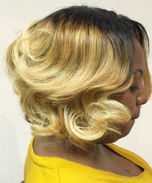 40 blonde bob with dark roots for black women