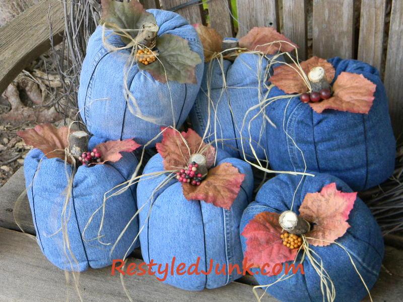41 Create a fun denim country pumpkins