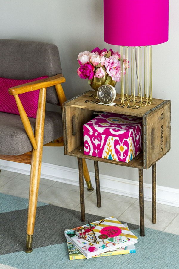 5 Wooden Crate Side Table