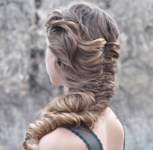 6 fishtail braid for long curly hair