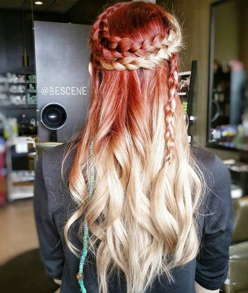 7 red to blonde ombre