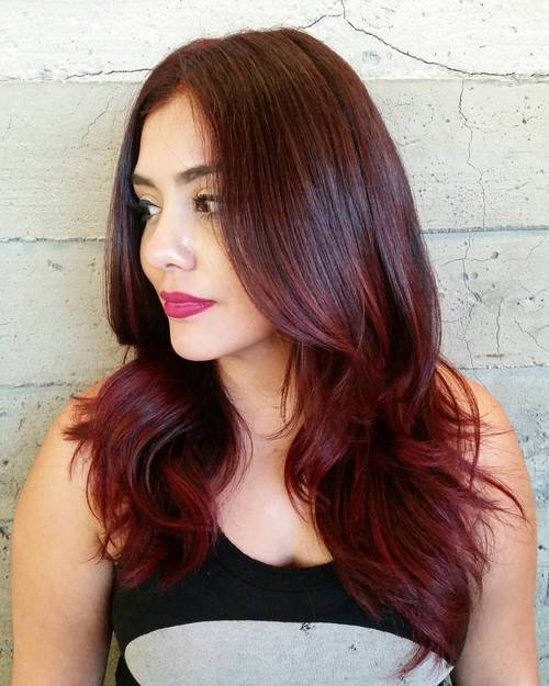 9 burgundy balayage for dark brown hair