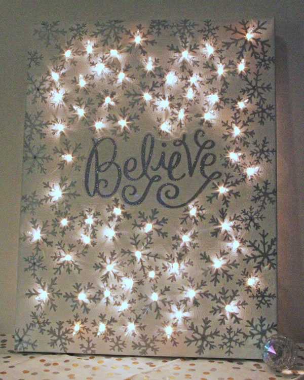 1 DIY Illuminated Canvas using Sharpies and String Lights
