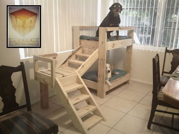 1 Doggy Bunkbeds Made Out Of Pallets