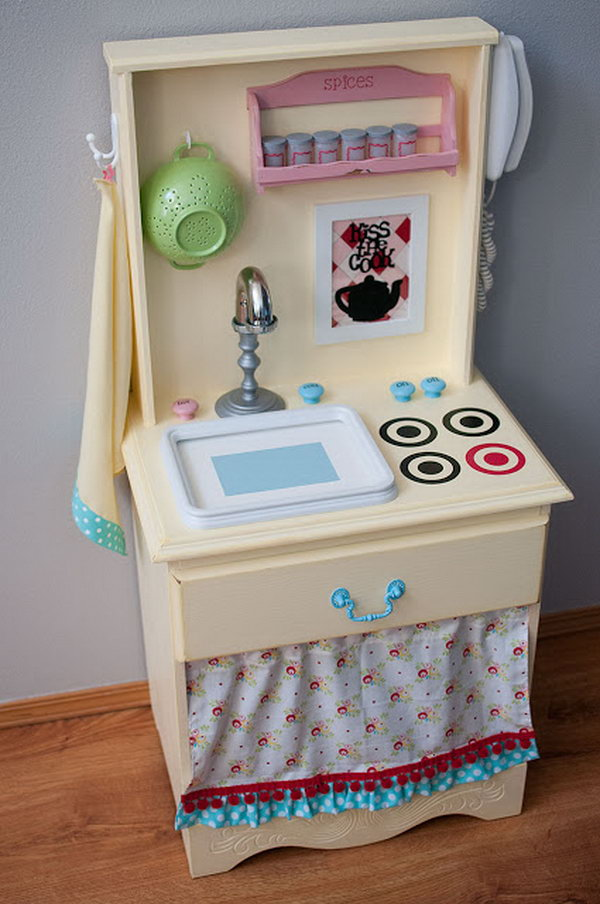 1 Play Kitchen Made Out of an Old Nightstand