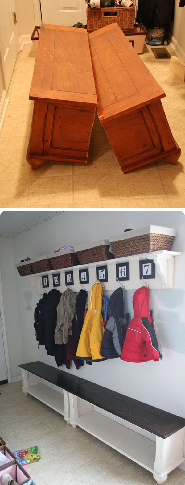 1 Turn an Old Coffee Table to a Mudroom Bench