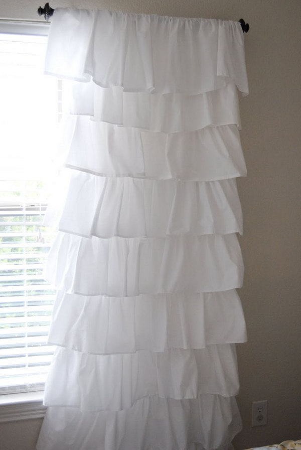 1 White Shabby Chic Ruffle Curtains