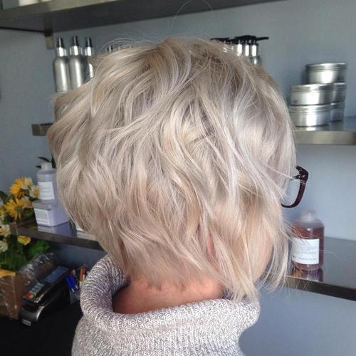 1 short ash blonde wavy bob