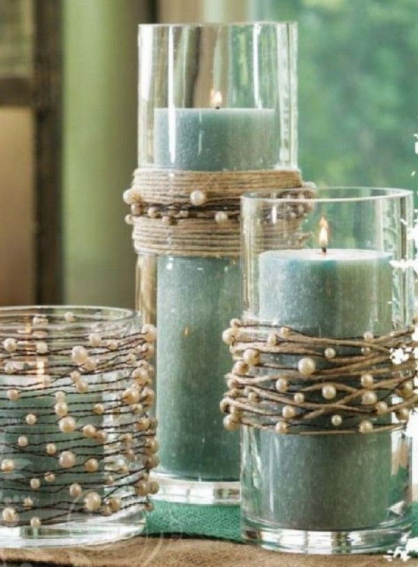 10 Candle Holders Decorated with String Pearls