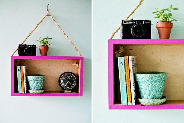 10 DIY Modern Hanging Shelf