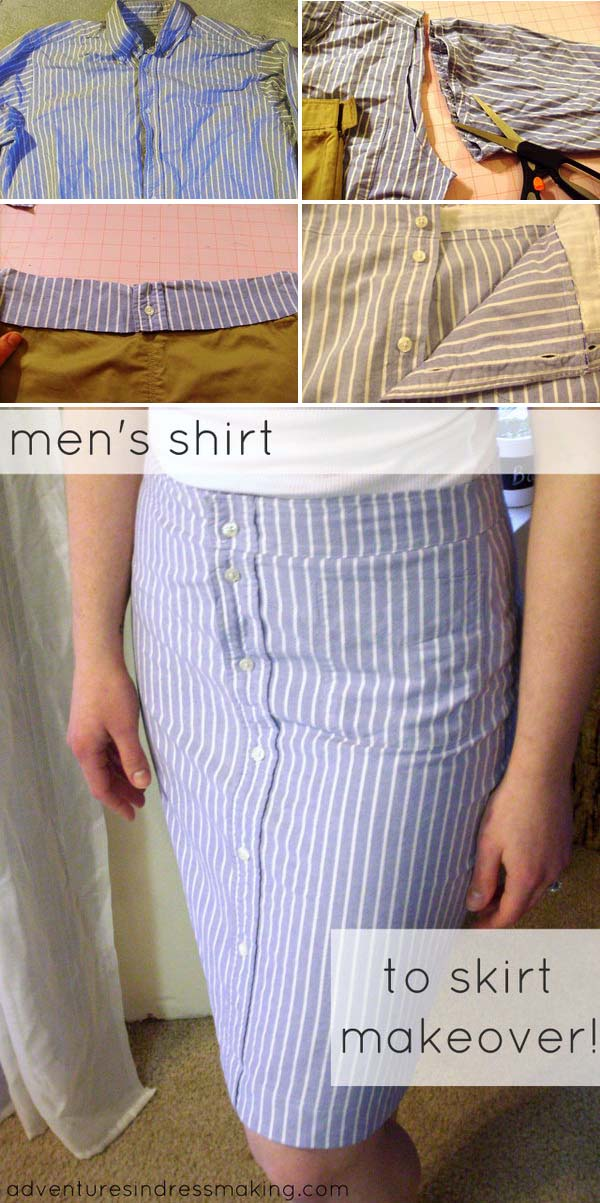 10 DIY Pencil Skirt Made from Men's Shirt