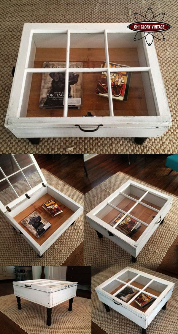 10 Repurpose Old Windows to Vintage Coffee Table