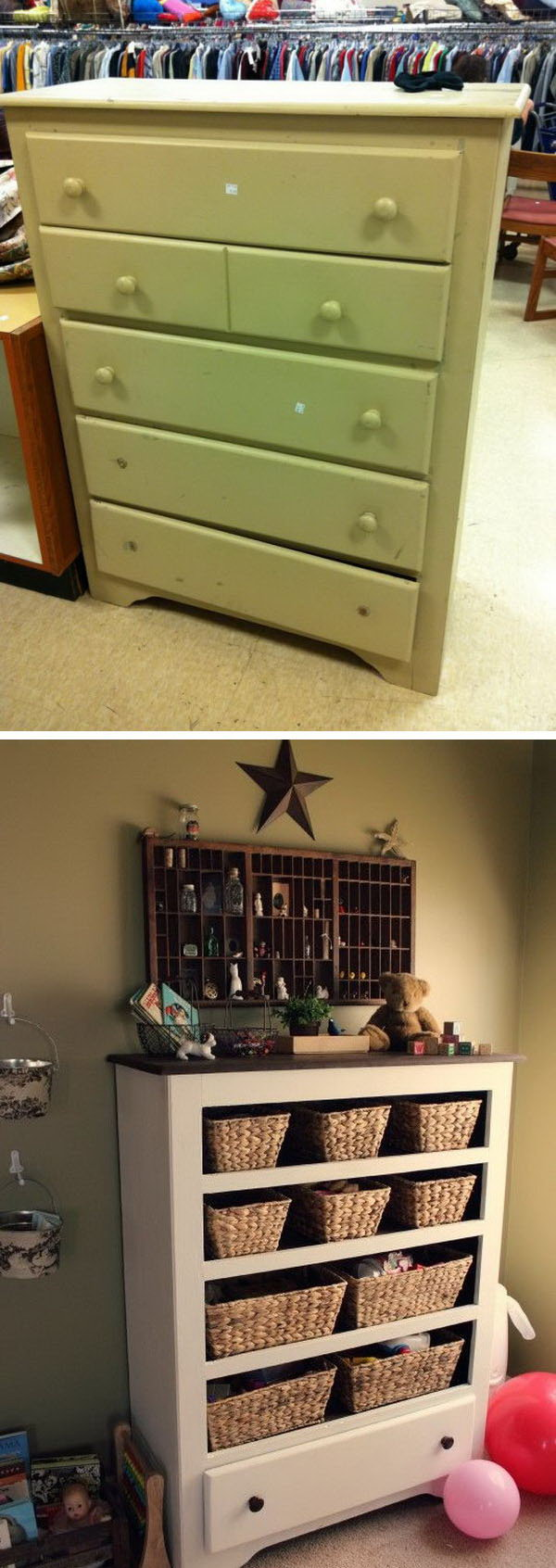 11 Turn a $950 Thrift Store Drawer into Funny Functional Storage or Craft Supplies