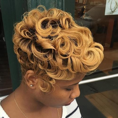 11 curly honey blonde pixie