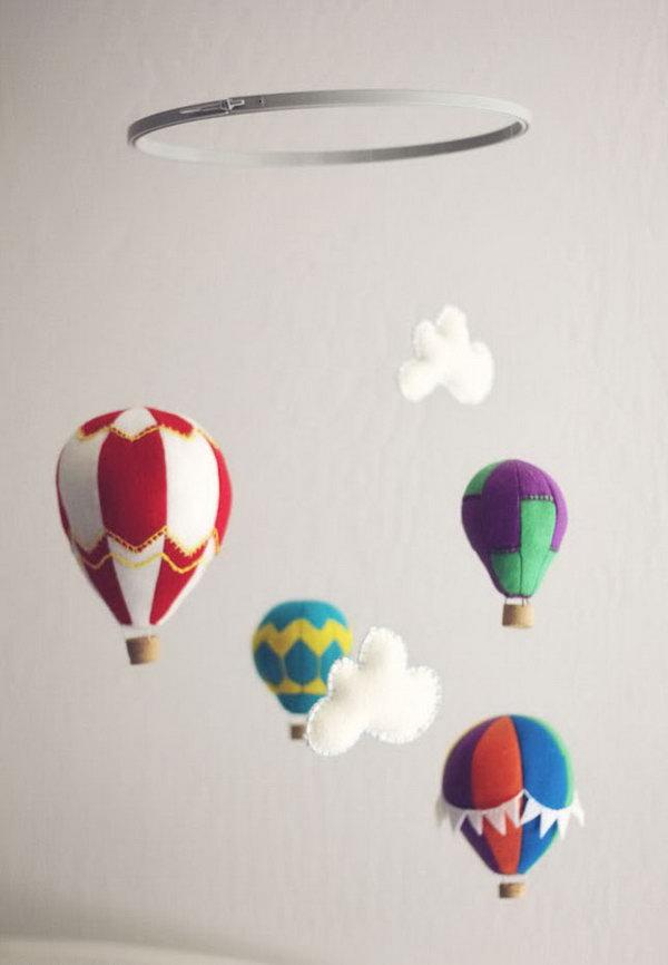 12  Felt Hot Air Balloon Mobile