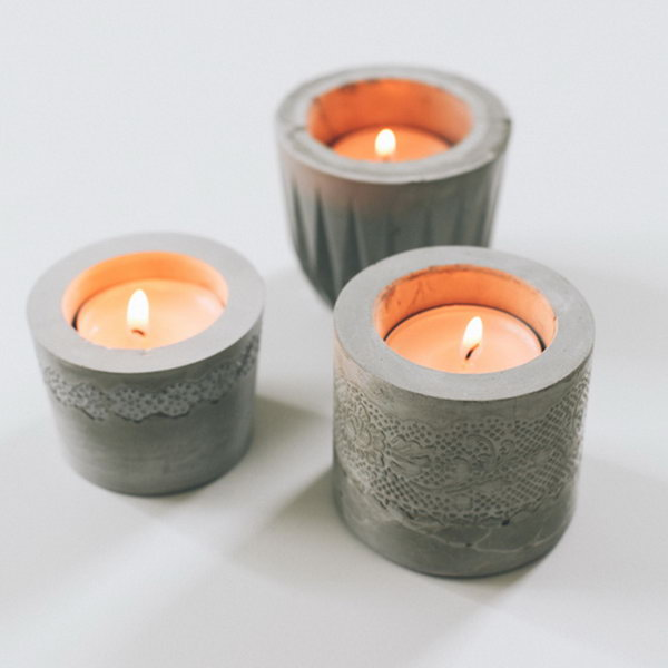 12 Lace Cement Votives