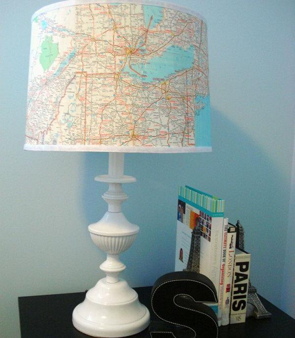 12 Map Lampshade