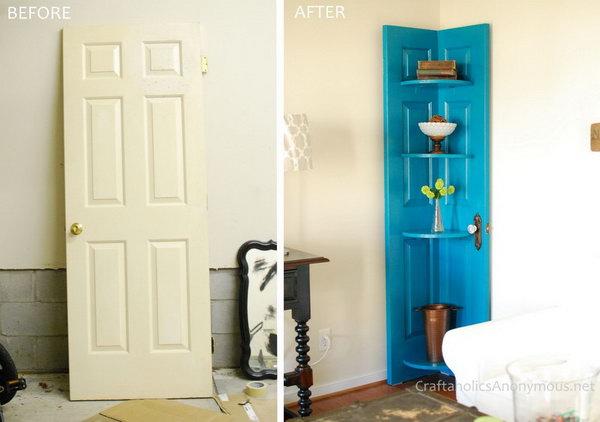 12 Turn an Old Vintage Door into a Corner Door Shelf