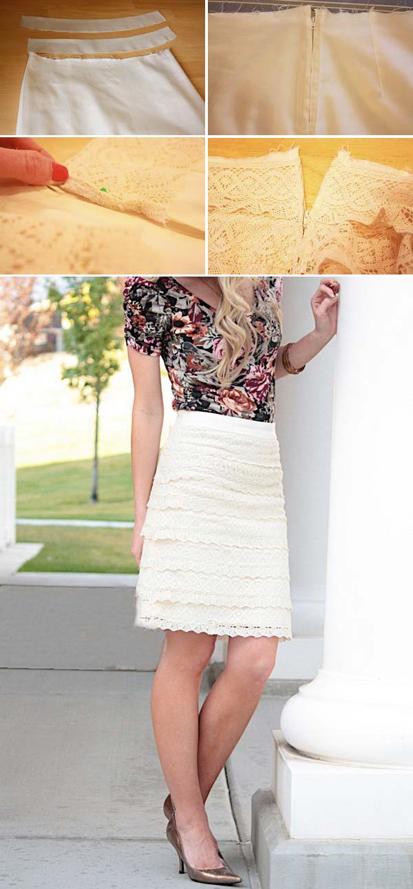 13 Beige Lace Pencil Skirt