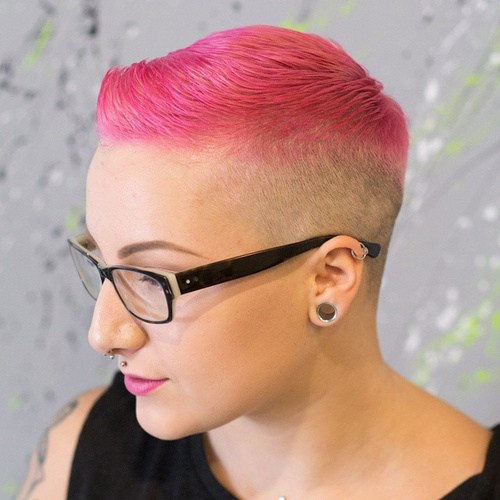 13 pink and blonde extra short hairstyle