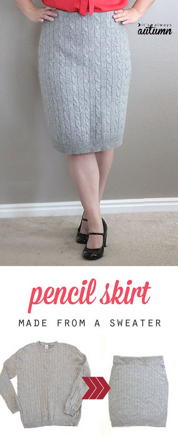 14 DIY Cable Knit Pencil Skirt Made from a Sweater