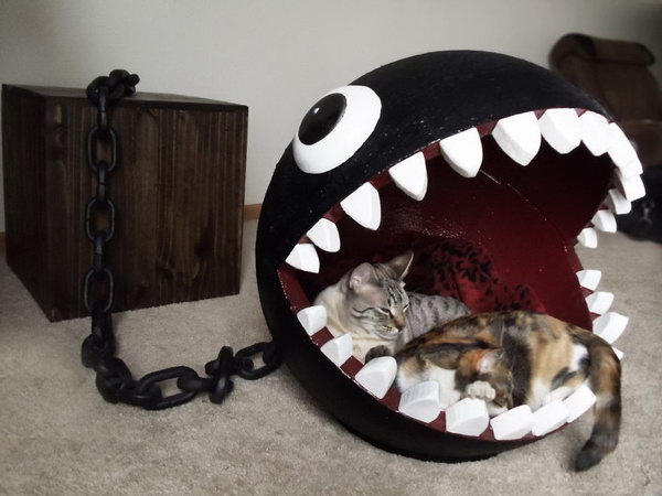14 DIY Cat Bed Inspired By Super Marios Chain Chomp Monster