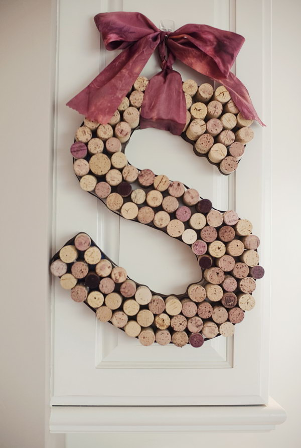 14 Decorative Letters Made from Wine Corks
