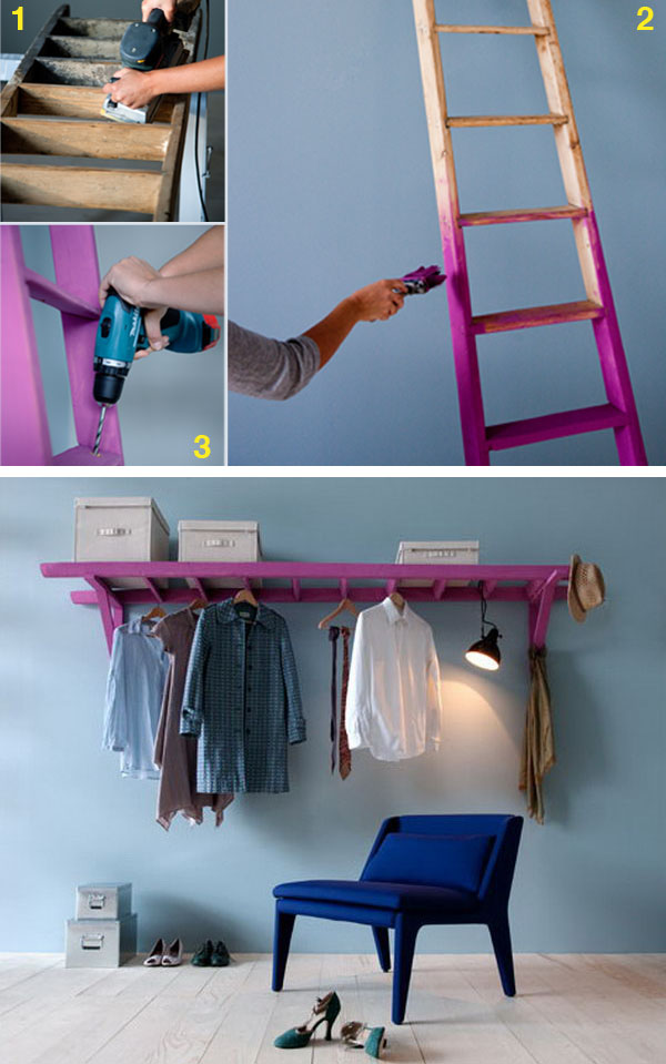 14 Use a Ladder and 2 Wooden Brackets to Make a Decorative Clothes Rack