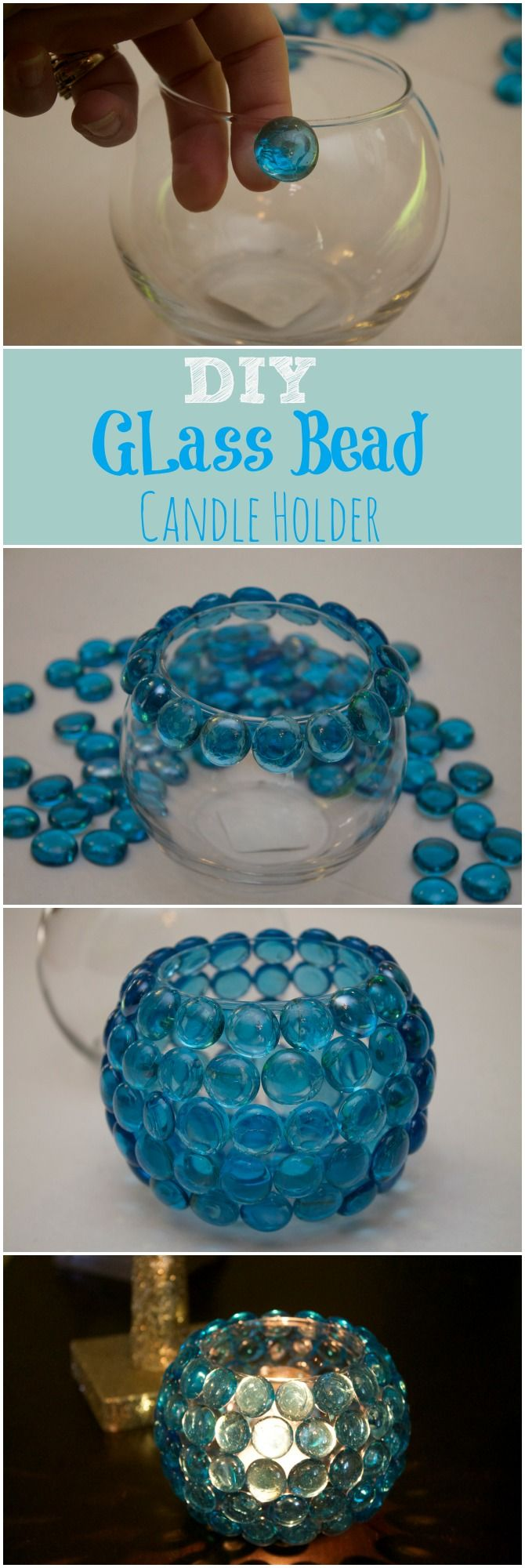 15 Glass Beaded Candle Holder